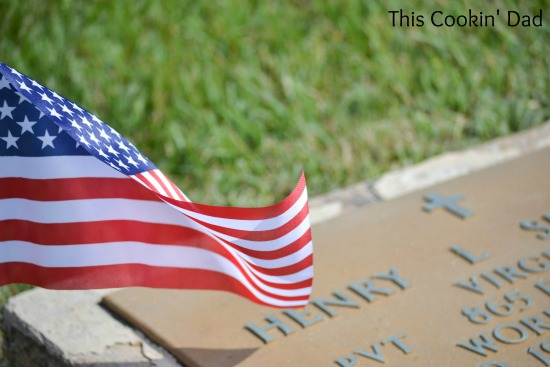 Memorial Day Headstone and Flag