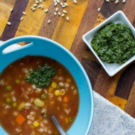 Slow Cooker Vegetable Barley Soup with Carrot Top Pesto