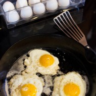 Fried Eggs and Pan Scrambled Eggs